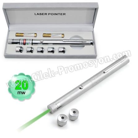 Ucuz Promosyon 20 Mw Yeşil Lazer Pointer 5 Başlıklı GLP7513-25