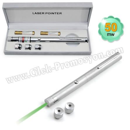 Ucuz Promosyon 50 Mw Yeşil Lazer Pointer 3 Başlıklı GLP7513-53