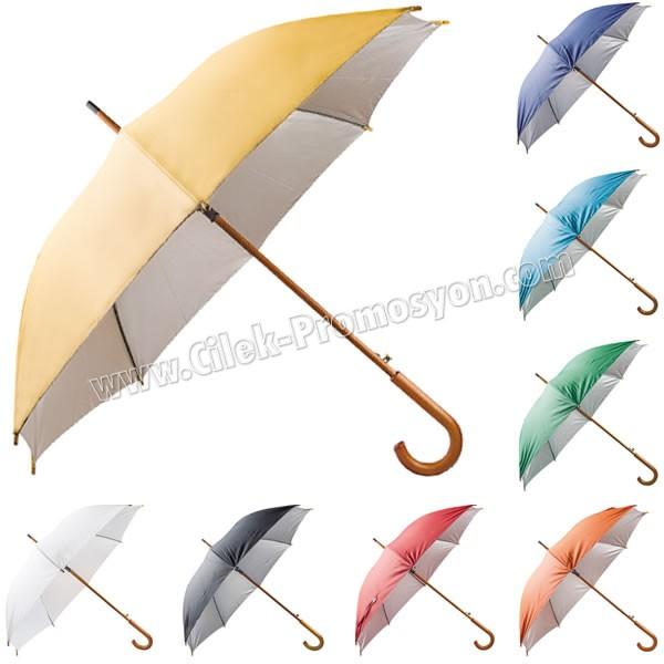 Ucuz Promosyon Ahşap Baston Şemsiye 8 Telli AD3781