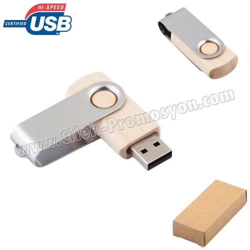 Ucuz Promosyon Ahşap Flash Bellek 8 GB - Metal Koruyuculu AFB3283-8