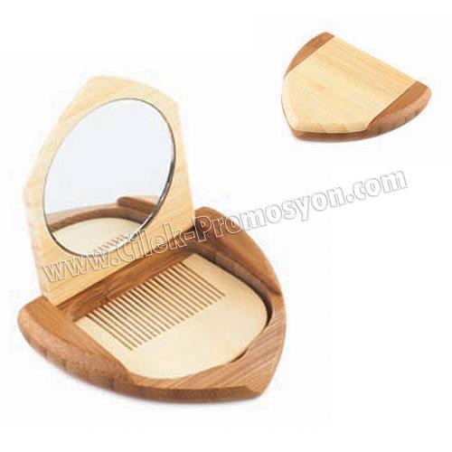 Ucuz Promosyon Ahşap Makyaj Aynası Taraklı ABU902