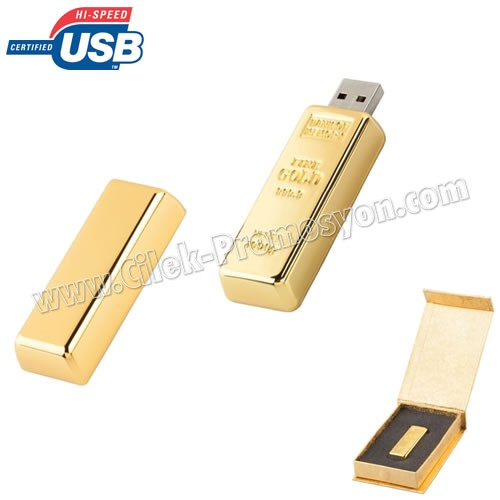 Ucuz Promosyon Altın Flash Bellek 8 GB - Külçe Altın Formunda - Metal AFB3288-8