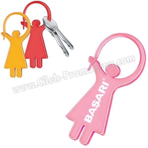 Ucuz Promosyon Bayan Anahtarlık Şeffaf Renkli Çift Taraflı AA1558-B