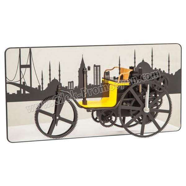 Ucuz Promosyon Dekoratif Fayton Araba Saat Ayna Fon Şehir Temalı AS20538