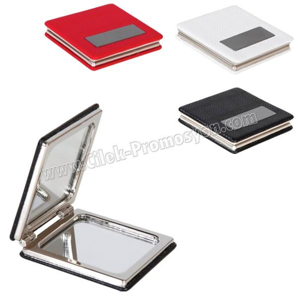 Ucuz Promosyon Deri Metal Makyaj Aynası Büyüteçli AAM10127