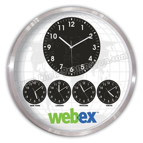 Ucuz Promosyon Metal Dünya Saatleri Beşli Duvar Saati 60 Cm Alüminyum AS20571