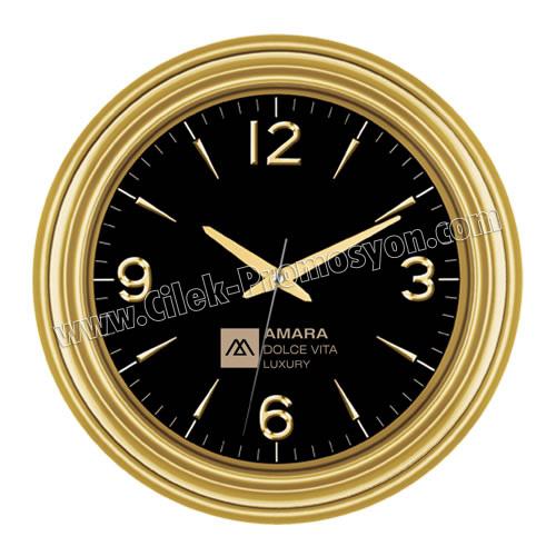 Ucuz Promosyon Duvar Saati Altın 37 Cm Özel Kadran AS20115-AG