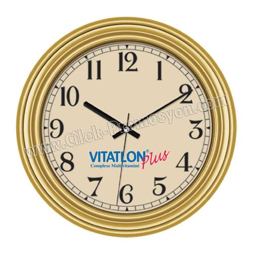 Ucuz Promosyon Duvar Saati Altın 37 Cm AS20115-BG