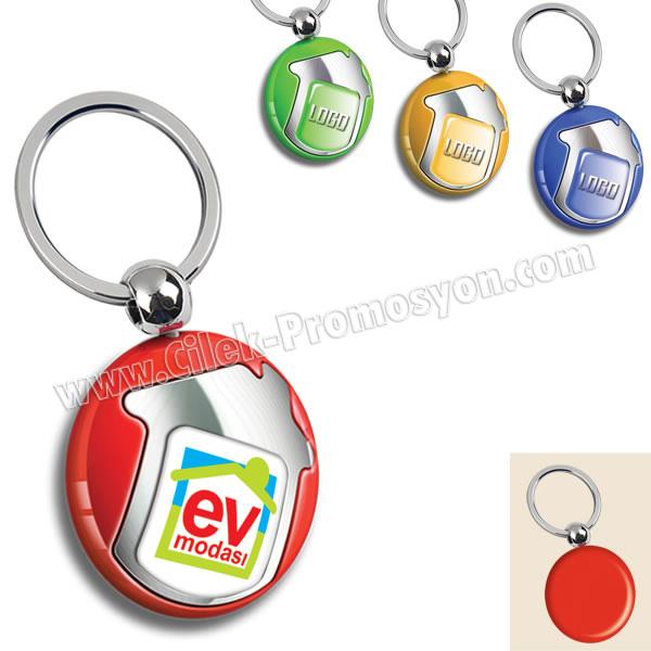 Ucuz Promosyon Ev Figürlü Anahtarlık Opak Renkli Tek Taraflı AA1553-O