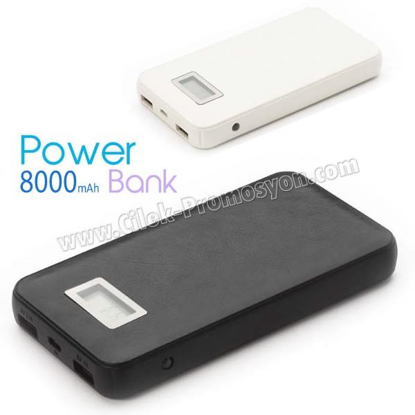 Ucuz Powerbank 8000 mAh - 2 Çıkışlı - Deri - Fenerli APB3765 - Ücretsiz Baskı ve Ücretsiz Kargo