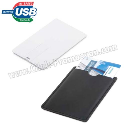 Ucuz Promosyon Flash Bellek 8 GB - Kredi Kartı Formunda - Deri Kılıflı AFB3266-D8