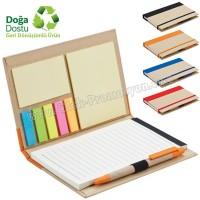 Ucuz Promosyon Geri Dönüşümlü Bloknot - Kalemli ve Renkli Yapışkan Notluklu AGD24147