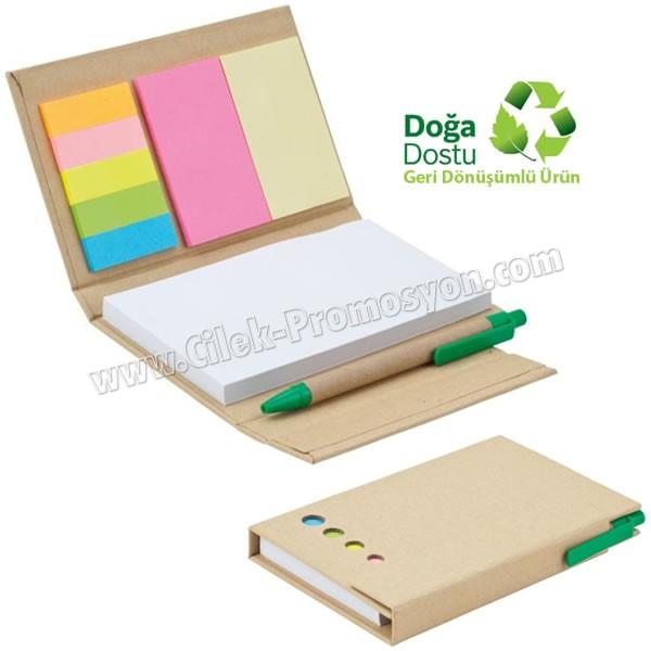 Ucuz Promosyon Geri Dönüşümlü Bloknot - Kalemli ve Renkli Yapışkan Notluklu AGD24148