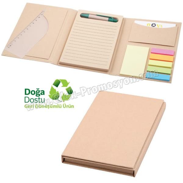 Ucuz Promosyon Geri Dönüşümlü Bloknot - Kalemli ve Renkli Yapışkan Notluklu AGD24160