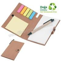 Ucuz Promosyon Geri Dönüşümlü Bloknot - Kalemli ve Renkli Yapışkan Notluklu AGD24161