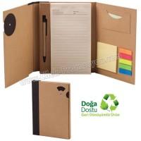 Ucuz Promosyon Geri Dönüşümlü Bloknot - Kalemli ve Renkli Yapışkan Notluklu AGD24163