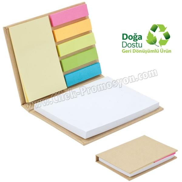 Ucuz Promosyon Geri Dönüşümlü Bloknot - Renkli Yapışkan Notluklu AGD24150