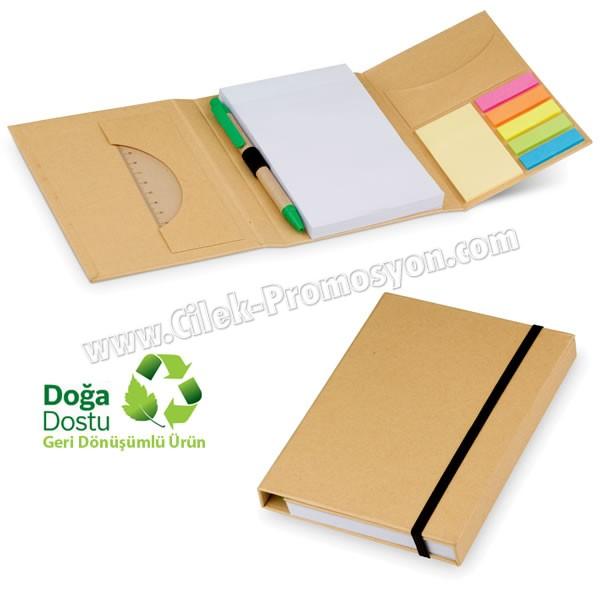 Ucuz Promosyon Geri Dönüşümlü Bloknot - Kalemli ve Renkli Yapışkan Notluklu AGD24125