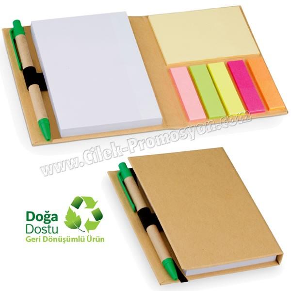 Ucuz Promosyon Geri Dönüşümlü Bloknot - Kalemli ve Renkli Yapışkan Notluklu AGD24128