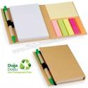 Toptan Ucuz Promosyon Geri Dönüşümlü Bloknot - Kalemli ve Renkli Yapışkan Notluklu AGD24128