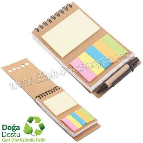 Ucuz Promosyon Geri Dönüşümlü Spiralli Bloknot - Kalemli ve Renkli Yapışkan Notluklu AGD24132