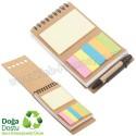 Toptan Ucuz Promosyon Geri Dönüşümlü Spiralli Bloknot - Kalemli ve Renkli Yapışkan Notluklu AGD24132