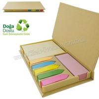 Ucuz Promosyon Geri Dönüşümlü Notluk Seti - Renkli Yapışkan Notluklu AGD24156