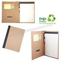 Ucuz Promosyon Geri Dönüşümlü Sekreter Bloknot - Kalemli ve Renkli Yapışkan Notluklu AGD24165