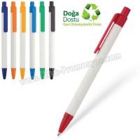 Ucuz Promosyon Geri Dönüşümlü Kalem - Beyaz Gövdeli Tükenmez AGD24135