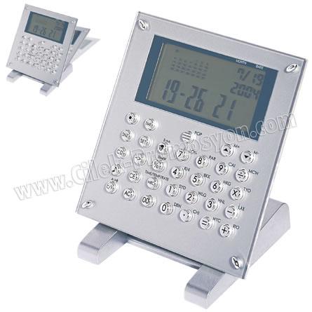 Ucuz Promosyon Hesap Makinesi Takvimli Dünya Saatleri GHM554