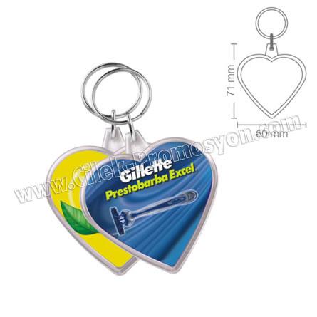 Ucuz Promosyon Kalp Anahtarlık Şeffaf Çift Taraflı AA1560-K