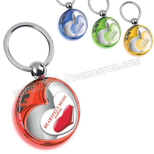 Ucuz Promosyon Kalp Figürlü Anahtarlık Şeffaf Renkli Çift Taraflı AA1554-S
