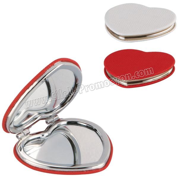 Kalp Cep Aynası - Deri Metal Büyüteçli AAM10130 - Ücretsiz Baskı ve Ücretsiz Kargo