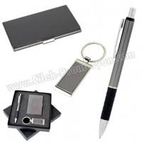 Ucuz Promosyon Kartvizitlik Seti Füme Metal Kalem ve Anahtarlıklı GKV817-F