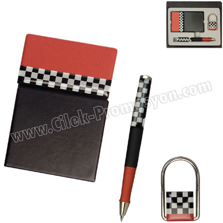 Ucuz Promosyon Kartvizitlik Seti Kalem ve Anahtarlıklı GKV861