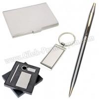 Ucuz Promosyon Kartvizitlik Seti Metal Kalem ve Anahtarlıklı GKV817-G
