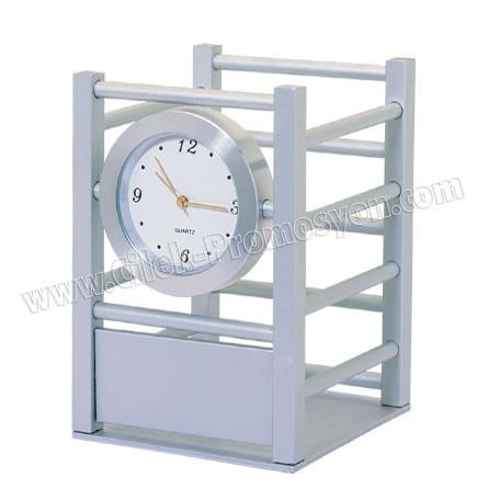 Ucuz Promosyon Masa Saati Kalemlik - Metal GMS251