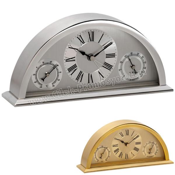Ucuz Promosyon Metal Masa Saati Nem Ölçer ve Termometreli AS20504