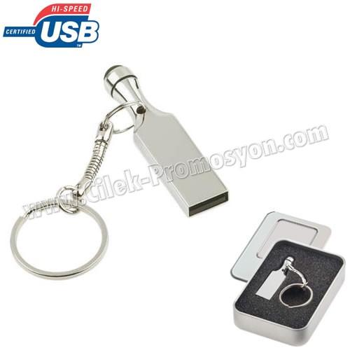 Ucuz Promosyon Metal Flash Bellek 16 GB - Dokunmatik Uç ve Anahtarlık AFB3278-16