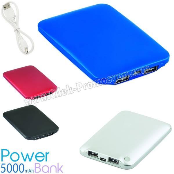 Ucuz Powerbank 5000 mAh - 2 Çıkışlı - Metal APB3762 - Ücretsiz Baskı ve Ücretsiz Kargo