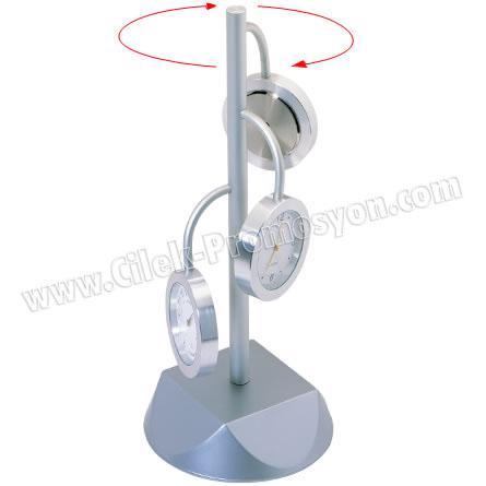 Ucuz Promosyon Masa Saati Nem Ölçer ve Termometre - Metal GMS257