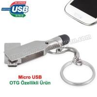 Ucuz Promosyon OTG Flash Bellek 16 GB - Dokunmatik Uç ve Anahtarlık - Metal AFB3312-16