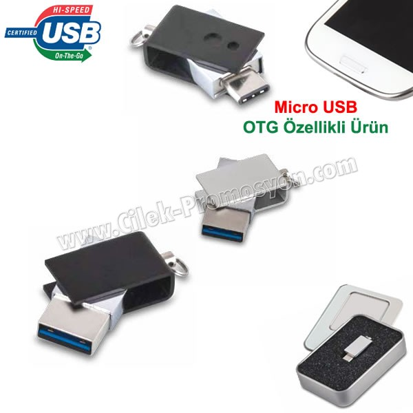 Ucuz Promosyon OTG Flash Bellek 16 GB - OTG Özellikli - Metal AFB3255