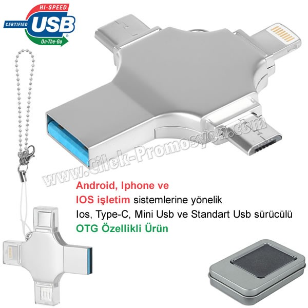 Ucuz Promosyon OTG Flash Bellek 32 GB - Ios, Type-C ve Mini Usb - USB 3,0 AFB3310