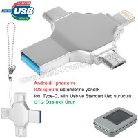 Ucuz Promosyon OTG Flash Bellek 32 GB - Ios, Type-C ve Mini Usb - USB 3,0 AFB3310