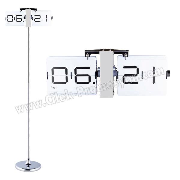 Ucuz Promosyon Metal Standlı Duvar ve Masa Saati Yaprak Mekanizmalı AS20530