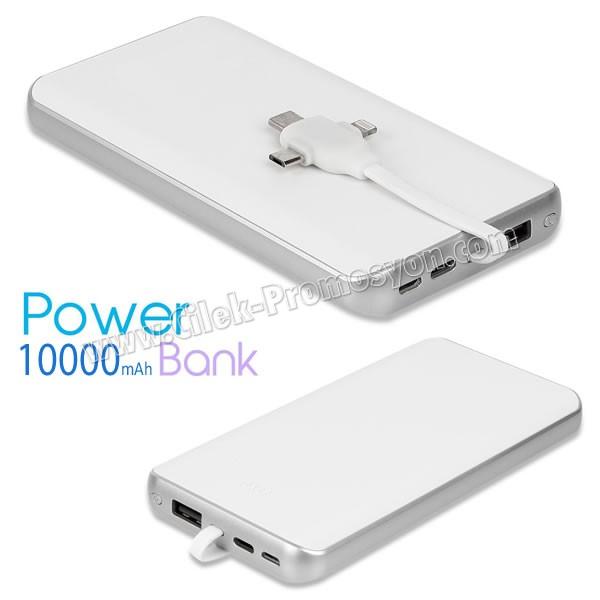 Ucuz Promosyon PowerBank 10000 mAh + Android & iPhone & Type C APB3774