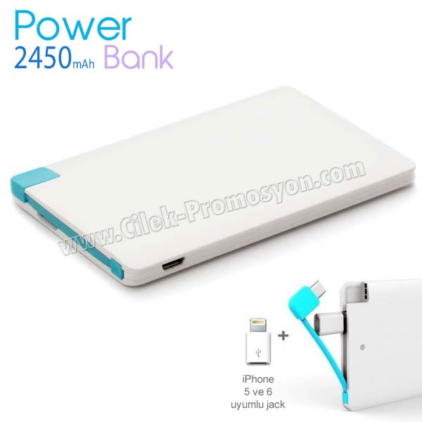 Ucuz Promosyon PowerBank 2450 mAh + Iphone 5 ve 6 Jack APB3764