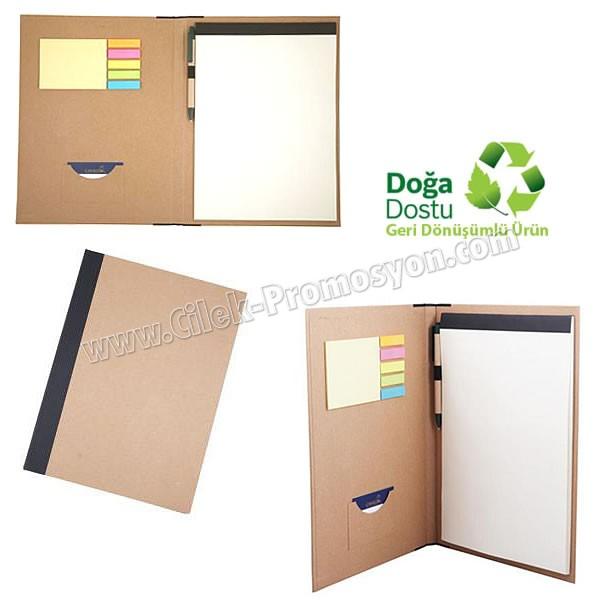 Ucuz Promosyon Sekreter Bloknot A4 - Geri Dönüşümlü - Kalemli ve Renkli Yapışkan Notluklu ABC8318