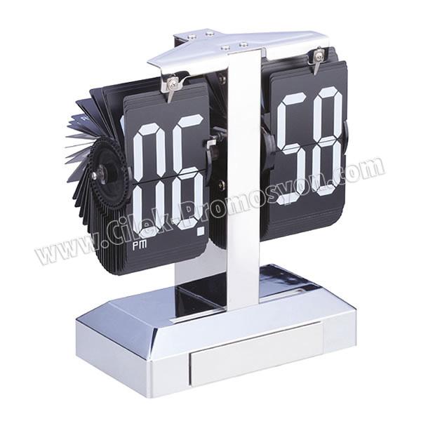 Ucuz Promosyon Işıklı Metal Masa Saati Yaprak Mekanizmalı AS20528
